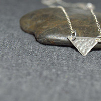 sterling silver triangle necklace, tiny geometric necklace, hammered triangle necklace, minimal necklace, everyday necklace