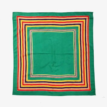 OROTON!!! Vintage 1970s 'Oroton' bright green square scarf with multicoloured striped border print