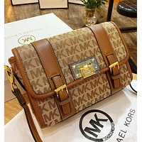 MK New fashion more letter canvas shopping leisure shoulder bag crossbody bag Brown