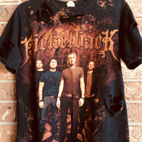 NICKELBACK size SMALLbleached T shirt distressed grunge, rock n roll concert wear, rock shirt, bleached band tee