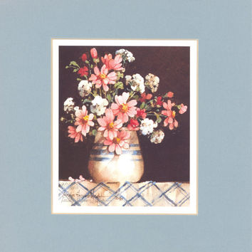 Summer Flowers 9 x 8 matted lithograph