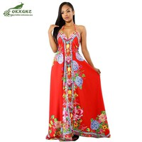 New Summer Female Sling Long Dresses Fashion Bohemian Print Sexy Large size Backless Dress Women clothing OKXGNZ AF939