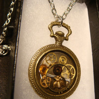 Steampunk Pocket Watch with Tiny Bee and Gears Pendant Necklace (1844)