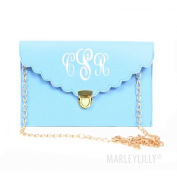 Monogrammed Scalloped Luxe Cross Body Clutch   Marley Lilly