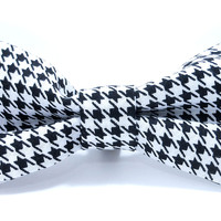 Dog Bow - Black and White Houndstooth - Dog Collar Accessory