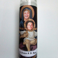 Prayer Candle, Saint James Franco and Seth Rogen, Pop Culture, Kitsch, Religious Humor