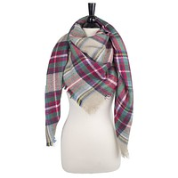Pop Fashion Soft Blanket Scarf Cotton Blanket Scarf Plaid Scarf (Black, Blue, Red, Yellow, Green, White)