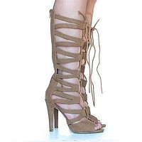 Toner By Speed Limit 98, Knee High Gladiator Cut Out Corset Lace Up Stiletto Heel Pump