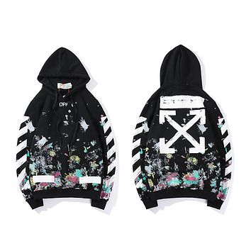 OFF-White new tops, personalized street style splash ink printing fashion hoodie
