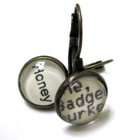 Honey Badger Honeybadger Word Earrings Recycled Library Card Patina Brass