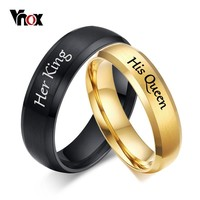 Vnox Free Engraving Wedding Rings for Women Men Stainless Steel Matt Surface Anniversary Band Valentine Gift His Queen Her King