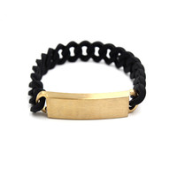 """LUST LTD"" Fashion Twist Rope Silica Gel Wristband Couple Steel Plate Chain Bracelet"