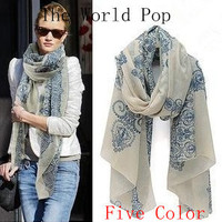 New Nice Scarves & Wraps Vntage Blue Chiffon Silk a Scarf Skull Fashion Cotton For Woman Free Shipping