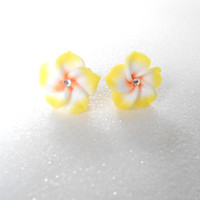 Yellow / White Polymer Clay Flower Earrings - Plumeria Post Earring with Swarovski Crystal - Hawaiian Jewelry