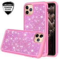 Apple iPhone 11 Pro Max Case, Glitter Bling Heavy Duty Shock Proof Hybrid Case with [HD Screen Protector] Dual Layer Protective Phone Case Cover for Apple iPhone 11 Pro Max - Hot Pink