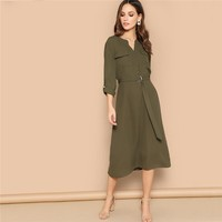 Roll Up Sleeve Pocket Belted Long Dress Women Round Neck Long Sleeve Casual Dress Ladies Midi Dresses