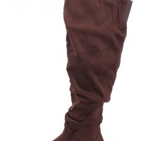 Brown Slouchy Knee High Boots Faux Suede