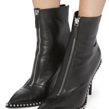 Silver Stud Pointed Toe Booties