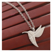 Antique Silver Plated Bird Animal Pendant Necklace for Women