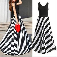 High-end sleeveless slant stripes sexy fashion trend self-cultivation beach vest dress in stock