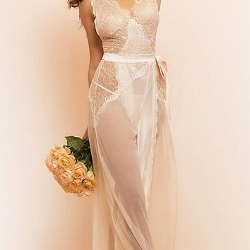 Nicolette Bridal Tie-Front Nightgown w/Eyelash Lace (Small-XL)