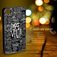 Cool Pierce The Veil Song Lyric black for iPhone 4/4s,iPhone 5/5s,Samsung S2 i9100,Samsung Galaxy S3,Samsung Galaxy S4