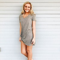 The Triblend Side Knot Dress - Heather Grey