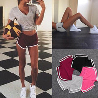 New Summer beach style 2016 Running Fitness Sport short pants Skinny playsuit Fashion Casual Slim shorts candy colors