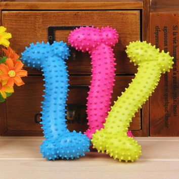 Lovely 11cm Pet Dog Bone TPR Rubber Bite Resistant Teeth Cleaning Chew Toy Cool