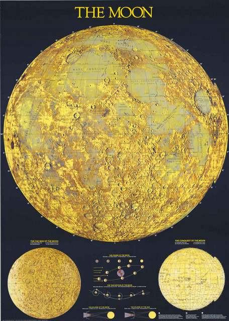 Image of Map of the Moon Lunar Geography Poster 27x39