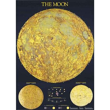 Map of the Moon Lunar Geography Poster 27x39