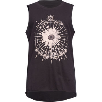 Full Tilt Daisy Dreamcatcher Girls Muscle Tank Black  In Sizes