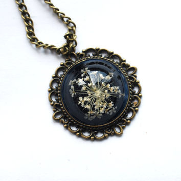Real Flower Necklace Resin Pendant Black 01 by NaturalPrettyThings