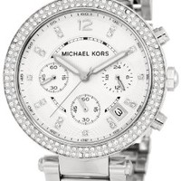 Michael Kors Parker Glitz Watch, Silver Color:Amazon:Watches