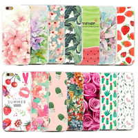 Floral Case For Apple iPhone 7 Plus 5 5S Se 6 6S 7 Cases 3D Flowers Rose Green Leaves Summer Pattern Back Cover Coque