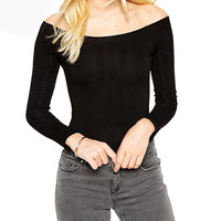 Black Off Shoulder Long Sleeves Bodysuit