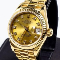 18K GOLD ROLEX PRESIDENT FOR WOMEN GOLD DIAMOND DIAL NEW PRESIDENT BRACELET