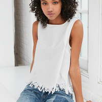 Silence + Noise Distressed Denim Fringe Tank Top | Urban Outfitters