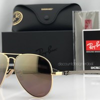 Ray-Ban RB8317CH 001/6B Sunglasses Gold Purple Mirror Polarized Chromance 58mm