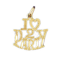 14K GOLD SAYING CHARM - I LOVE 2 PARTY #10824