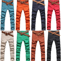 Mens Casual Slim Fit Pants Skinny Stretch Pencil Jeans Trousers E1200  8color