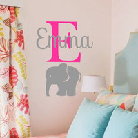 Elephant Wall Decal-Elephant with Initial and Name-Boys Girls Room Decor-Personalized Vinyl Wall Decor-Custom Name Monogram Preppy