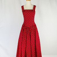 Vintage 80s Red and White Polka-dot Sun Dress Kamisato Full Skirt