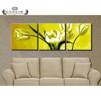 White tulips Picture Hand Painted Modern Abstract Oil Painting Canvas Wall Art for Living Room Decoration Gift No Framed DY016
