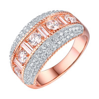 Wedding Engagement Promise Ring Band Rose Gold On 925 Silver Cubic Zircon