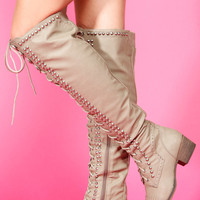 Beige Knee High Lace Up Combat Boots
