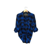 Vintage blue and black CAMPUS Buffalo check Plaid Flannel / Grunge Shirt / Button up shirt