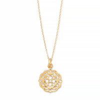 16in x 2in 14 Karat Gold Plated Necklace with Ornate Cut Out Design Pendant