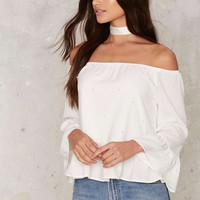 World is Her Oyster Off-the-Shoulder Top