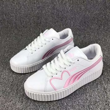 PUMA Basket Women Casual Running Sport Shoes Sneakers White Pink I-CSXY